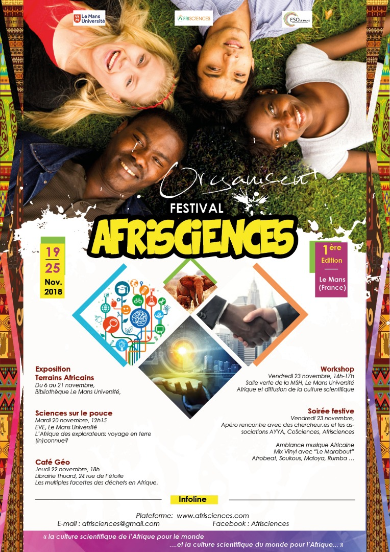 Découvrez ici le programme intégral du festival AFRISCIENCES, 1ère édition au Mans (France)